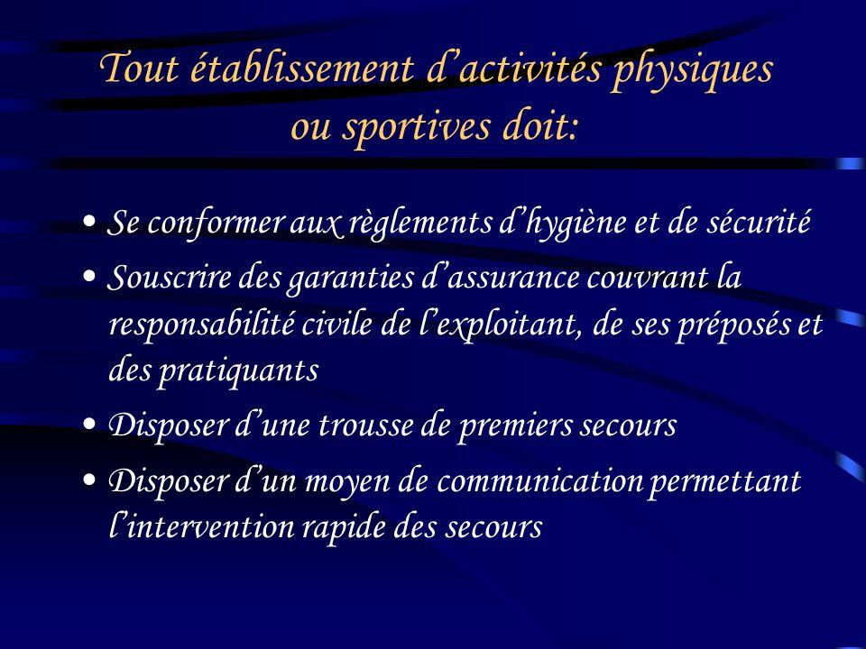 Conditions requises pour exploiter un établissement dans lequel sont pratiquées des Activités Physiques ou Sportives Ne pas avoir fait l'objet de cond