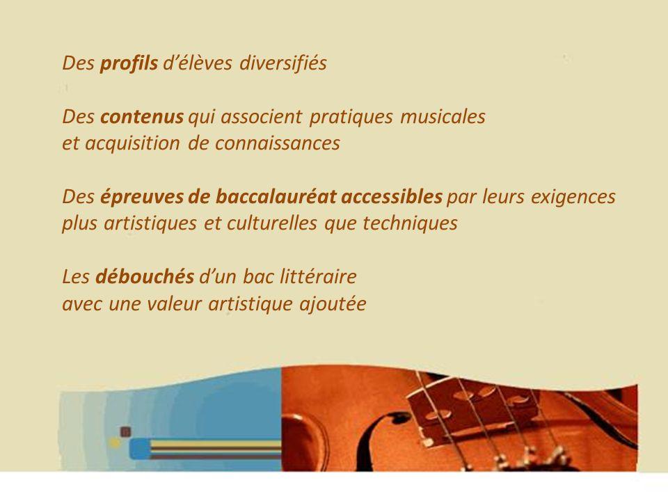 Des profils délèves diversifiés Des contenus qui associent pratiques musicales et acquisition de connaissances Des épreuves de baccalauréat accessibles par leurs exigences plus artistiques et culturelles que techniques Les débouchés dun bac littéraire avec une valeur artistique ajoutée