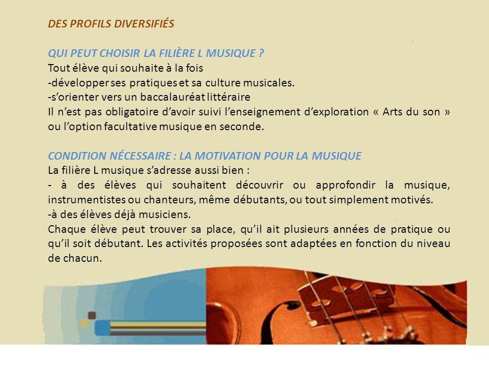 Hélène WAGNER 2013 DES PROFILS DIVERSIFIÉS QUI PEUT CHOISIR LA FILIÈRE L MUSIQUE .