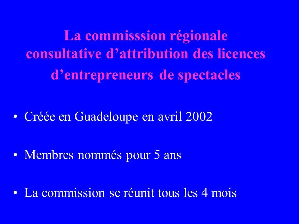La commisssion régionale consultative dattribution des licences dentrepreneurs de spectacles Créée en Guadeloupe en avril 2002 Membres nommés pour 5 ans La commission se réunit tous les 4 mois