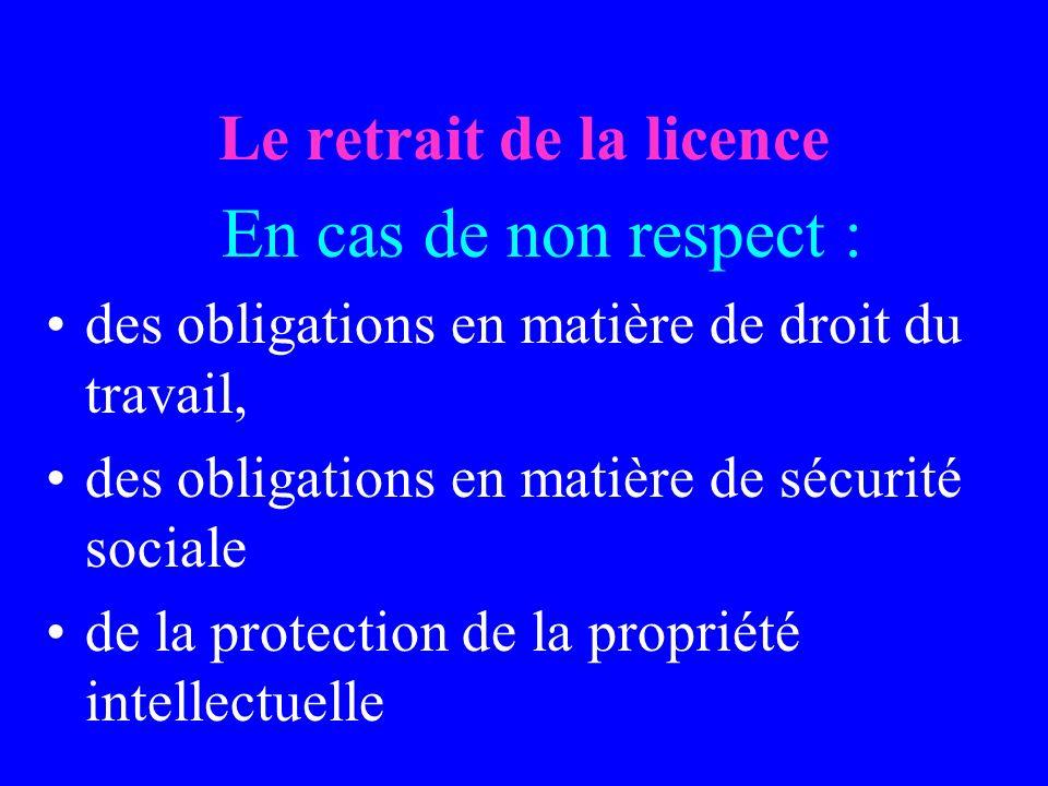 Le retrait de la licence En cas de non respect : des obligations en matière de droit du travail, des obligations en matière de sécurité sociale de la protection de la propriété intellectuelle