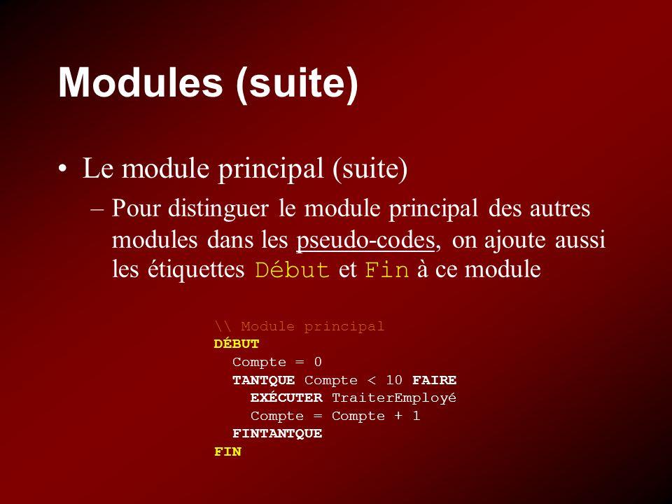 Modules (suite) Le module principal (suite) –Pour distinguer le module principal des autres modules dans les pseudo-codes, on ajoute aussi les étiquettes Début et Fin à ce module \\ Module principal DÉBUT Compte = 0 TANTQUE Compte < 10 FAIRE EXÉCUTER TraiterEmployé Compte = Compte + 1 FINTANTQUE FIN