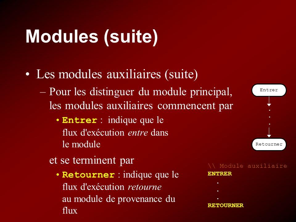 Modules (suite) Les modules auxiliaires (suite) –Pour les distinguer du module principal, les modules auxiliaires commencent par Entrer : indique que le flux d exécution entre dans le module et se terminent par Retourner : indique que le flux d exécution retourne au module de provenance du flux Entrer Retourner......