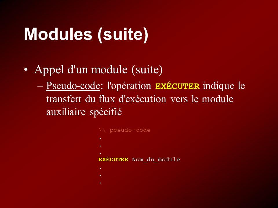 Modules (suite) Appel d un module (suite) –Pseudo-code: l opération EXÉCUTER indique le transfert du flux d exécution vers le module auxiliaire spécifié \\ pseudo-code.
