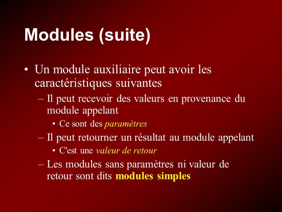 Modules (suite) Un module auxiliaire peut avoir les caractéristiques suivantes –Il peut recevoir des valeurs en provenance du module appelant Ce sont des paramètres –Il peut retourner un résultat au module appelant C est une valeur de retour –Les modules sans paramètres ni valeur de retour sont dits modules simples