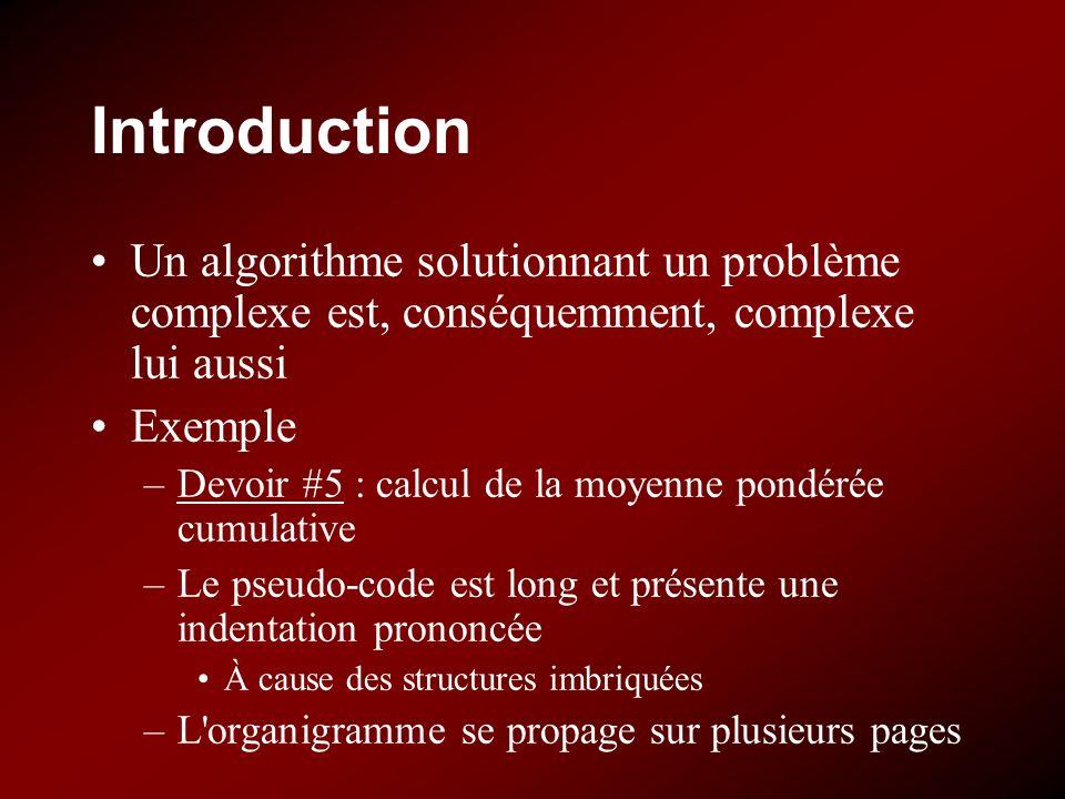 Introduction Un algorithme solutionnant un problème complexe est, conséquemment, complexe lui aussi Exemple –Devoir #5 : calcul de la moyenne pondérée cumulative –Le pseudo-code est long et présente une indentation prononcée À cause des structures imbriquées –L organigramme se propage sur plusieurs pages
