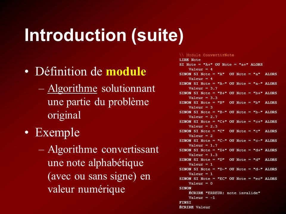Introduction (suite) Définition de module –Algorithme solutionnant une partie du problème original Exemple –Algorithme convertissant une note alphabétique (avec ou sans signe) en valeur numérique \\ Module ConvertirNote LIRE Note SI Note = A+ OU Note = a+ ALORS Valeur = 4 SINON SI Note = A OU Note = a ALORS Valeur = 4 SINON SI Note = A- OU Note = a- ALORS Valeur = 3.7 SINON SI Note = B+ OU Note = b+ ALORS Valeur = 3.3 SINON SI Note = B OU Note = b ALORS Valeur = 3 SINON SI Note = B- OU Note = b- ALORS Valeur = 2.7 SINON SI Note = C+ OU Note = c+ ALORS Valeur = 2.3 SINON SI Note = C OU Note = c ALORS Valeur = 2 SINON SI Note = C- OU Note = c- ALORS Valeur = 1.7 SINON SI Note = D+ OU Note = d+ ALORS Valeur = 1.3 SINON SI Note = D OU Note = d ALORS Valeur = 1 SINON SI Note = D- OU Note = d- ALORS Valeur = 1 SINON SI Note = EC OU Note = ec ALORS Valeur = 0 SINON ÉCRIRE ERREUR: note invalide Valeur = -1 FINSI ÉCRIRE Valeur