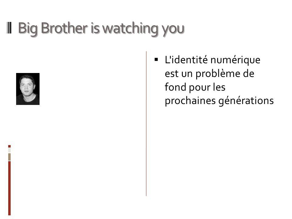Big Brother is watching you L identité numérique est un problème de fond pour les prochaines générations