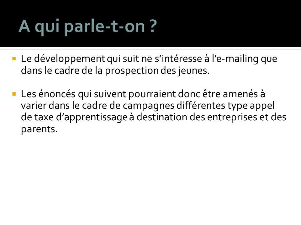 Le développement qui suit ne sintéresse à le-mailing que dans le cadre de la prospection des jeunes.
