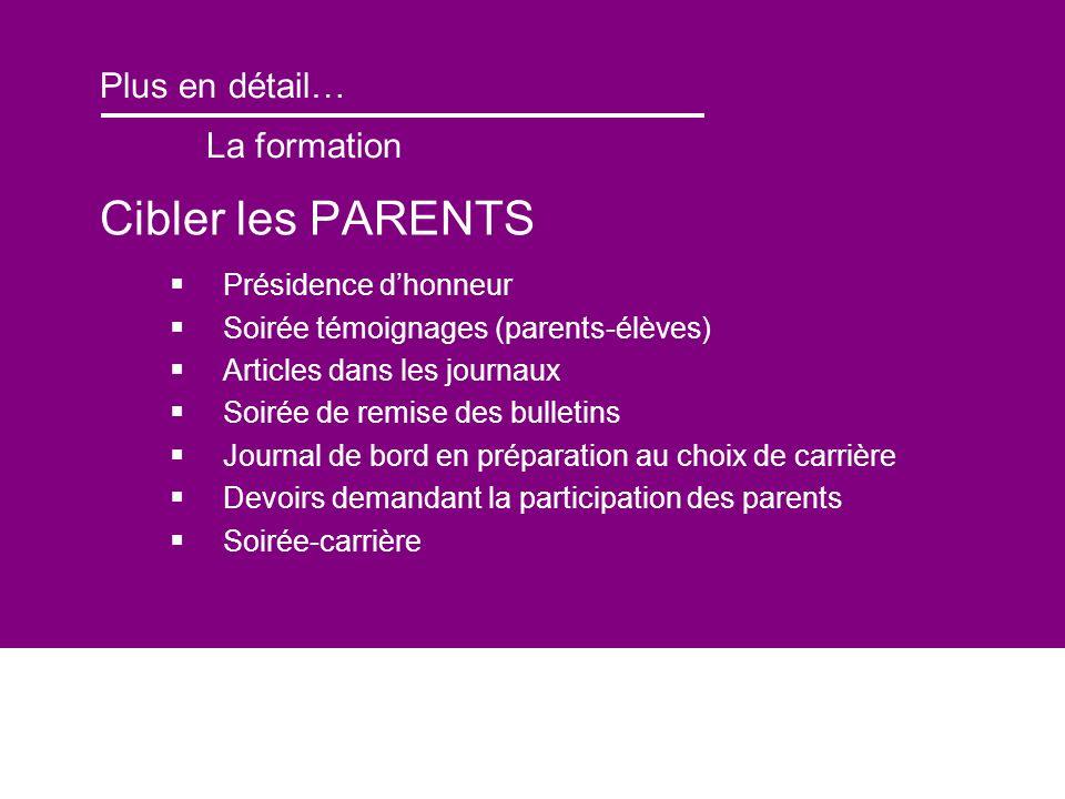 Plus en détail… La formation Cibler les PARENTS Présidence dhonneur Soirée témoignages (parents-élèves) Articles dans les journaux Soirée de remise de