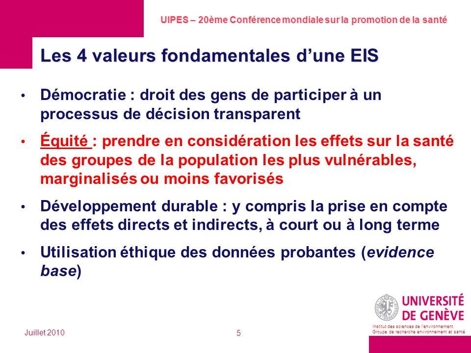 UIPES – 20ème Conférence mondiale sur la promotion de la santé Juillet 2010 5 Institut des sciences de lenvironnement Groupe de recherche environnemen