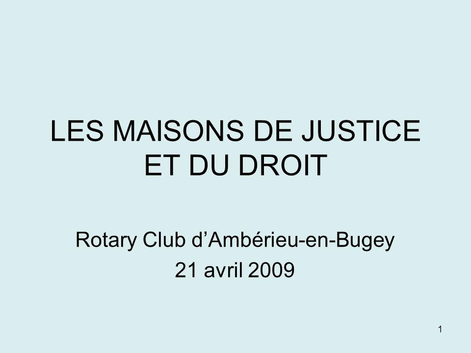 1 LES MAISONS DE JUSTICE ET DU DROIT Rotary Club dAmbérieu-en-Bugey 21 avril 2009