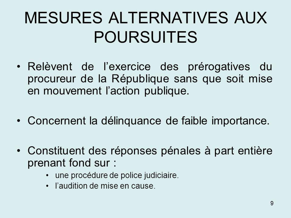 9 MESURES ALTERNATIVES AUX POURSUITES Relèvent de lexercice des prérogatives du procureur de la République sans que soit mise en mouvement laction pub