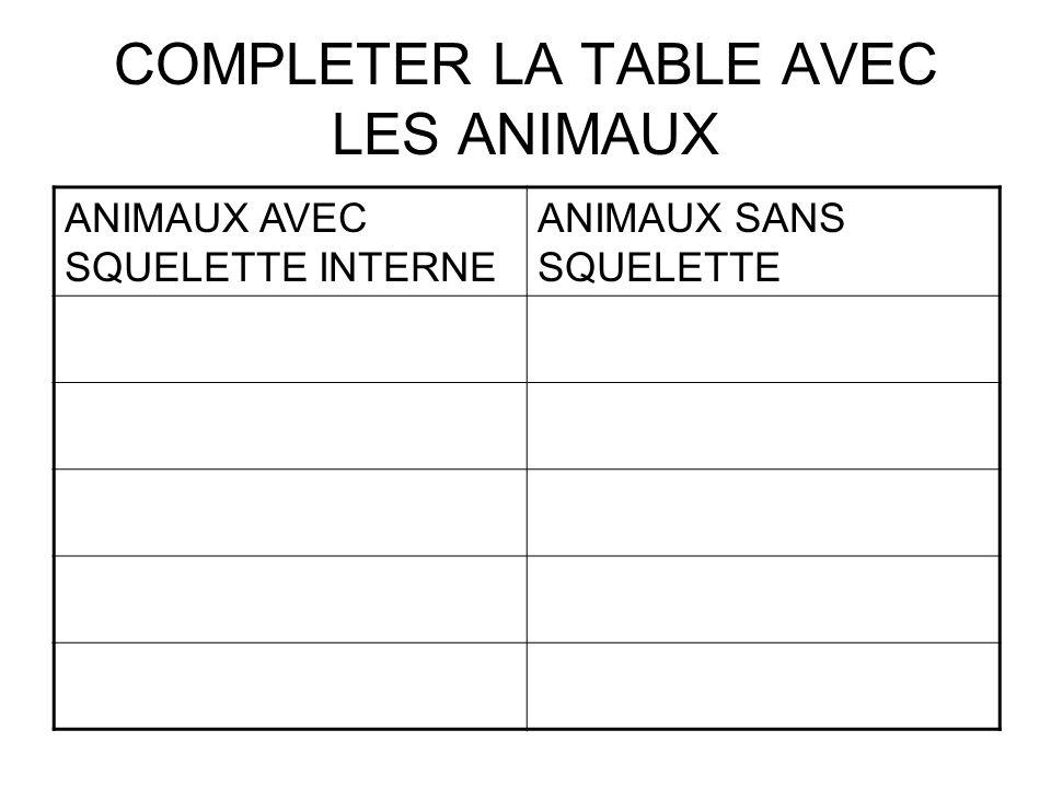COMPLETER LA TABLE AVEC LES ANIMAUX ANIMAUX AVEC SQUELETTE INTERNE ANIMAUX SANS SQUELETTE