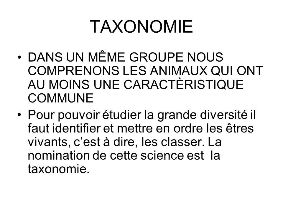 TAXONOMIE DANS UN MÊME GROUPE NOUS COMPRENONS LES ANIMAUX QUI ONT AU MOINS UNE CARACTÈRISTIQUE COMMUNE Pour pouvoir étudier la grande diversité il fau