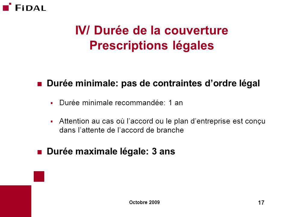 Octobre 2009 17 IV/ Durée de la couverture Prescriptions légales Durée minimale: pas de contraintes dordre légal Durée minimale recommandée: 1 an Atte