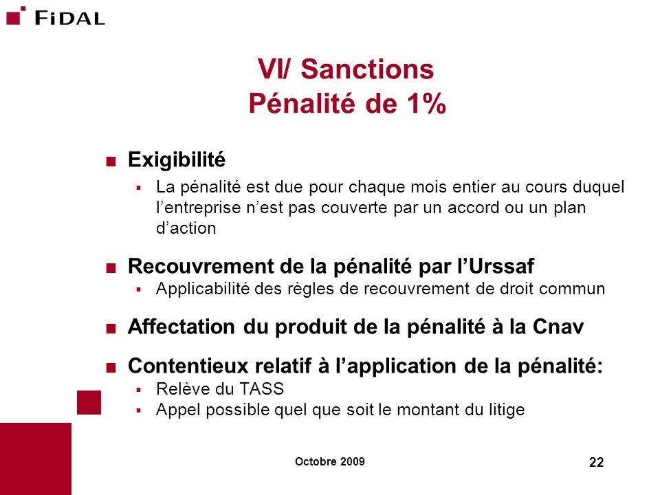 Octobre 2009 22 VI/ Sanctions Pénalité de 1% Exigibilité La pénalité est due pour chaque mois entier au cours duquel lentreprise nest pas couverte par