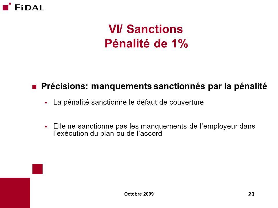 Octobre 2009 23 VI/ Sanctions Pénalité de 1% Précisions: manquements sanctionnés par la pénalité La pénalité sanctionne le défaut de couverture Elle n