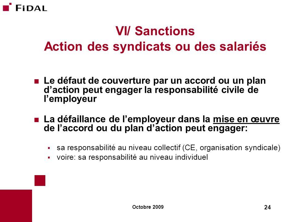 Octobre 2009 24 VI/ Sanctions Action des syndicats ou des salariés Le défaut de couverture par un accord ou un plan daction peut engager la responsabi