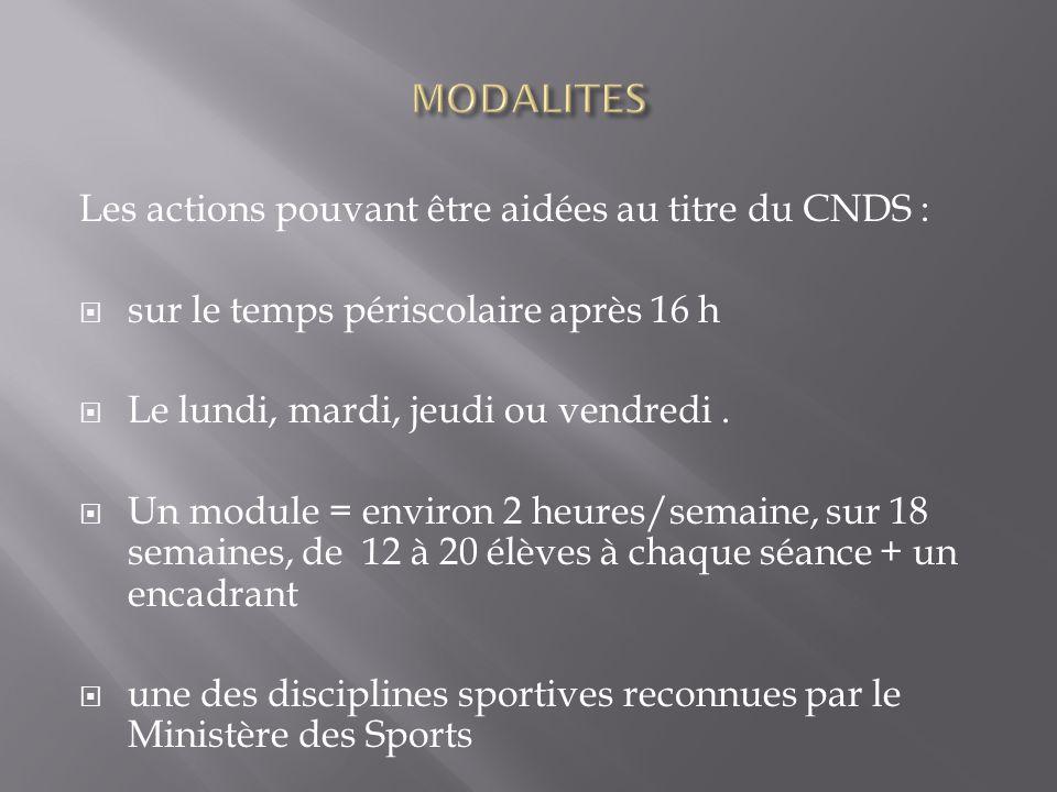 Les actions pouvant être aidées au titre du CNDS : sur le temps périscolaire après 16 h Le lundi, mardi, jeudi ou vendredi.