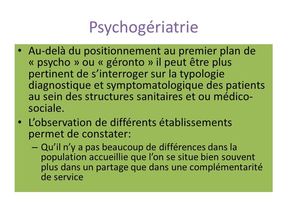 Psychogériatrie Certains troubles ayant une composante psychiatrique majeure sont difficilement pris en soin dans des services ayant une plus forte composante gériatrique A titre dillustration, lorientation dans une même structure de patients présentant une forte morbidité organique (patient alité et très dépendant sur le plan de lautonomie physique) et peu compatible avec laccompagnement au quotidien des symptômes comportementaux et psychologiques de la démence (SCPD) Dans cette perspective, une évaluation de la pertinence des hospitalisations peut apporter un plus grand éclairage et une meilleure définition des profils de patients.
