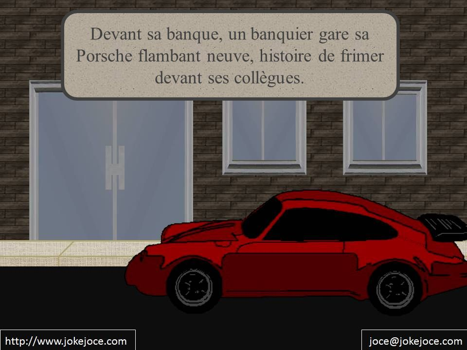 Devant sa banque, un banquier gare sa Porsche flambant neuve, histoire de frimer devant ses collègues.