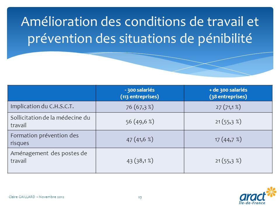 Amélioration des conditions de travail et prévention des situations de pénibilité Claire GAILLARD – Novembre 201223 - 300 salariés (113 entreprises) +