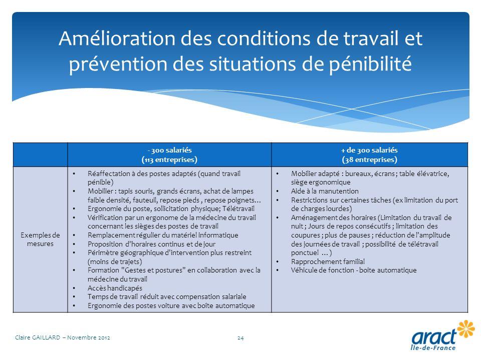 Amélioration des conditions de travail et prévention des situations de pénibilité Claire GAILLARD – Novembre 201224 - 300 salariés (113 entreprises) +