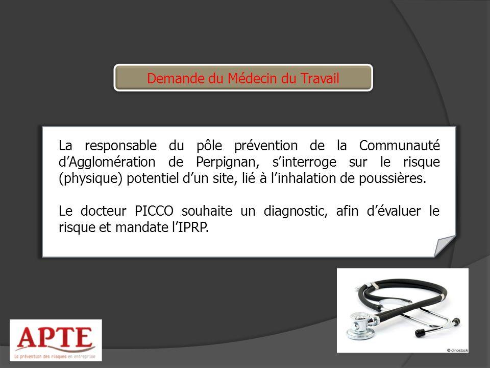 Demande du Médecin du Travail La responsable du pôle prévention de la Communauté dAgglomération de Perpignan, sinterroge sur le risque (physique) pote