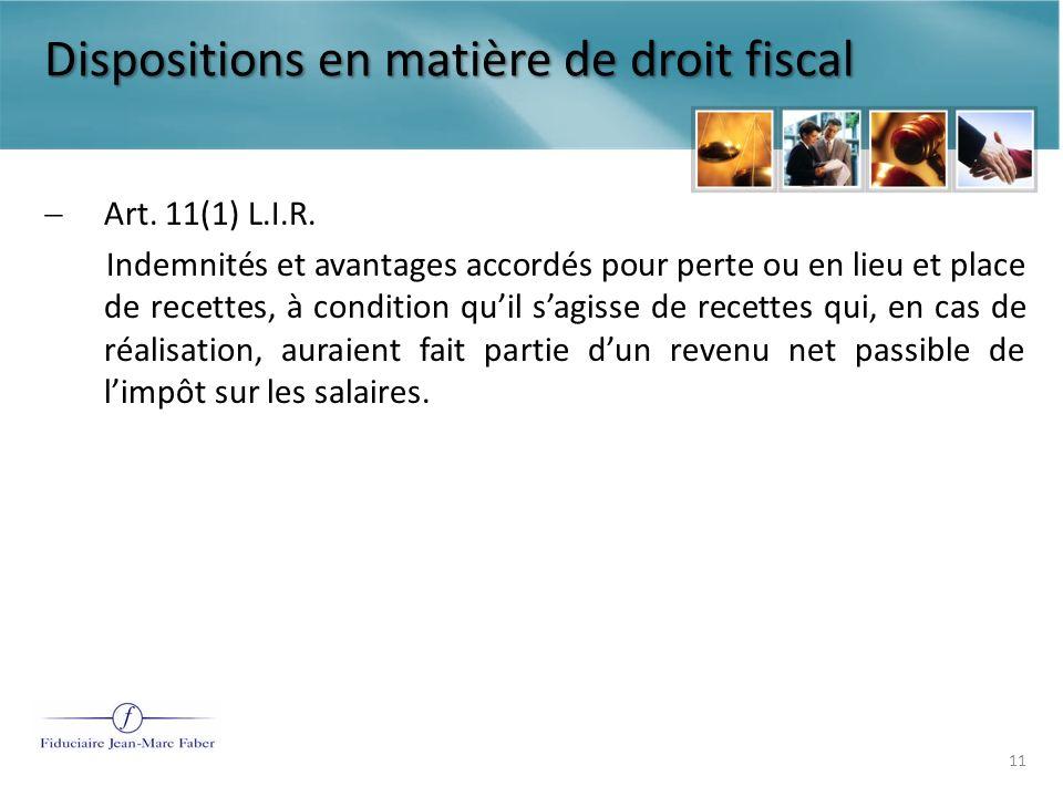Dispositions en matière de droit fiscal Art.131 et art.