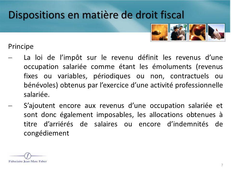 Dispositions en matière de droit fiscal Art.95(1) 2 L.I.R.