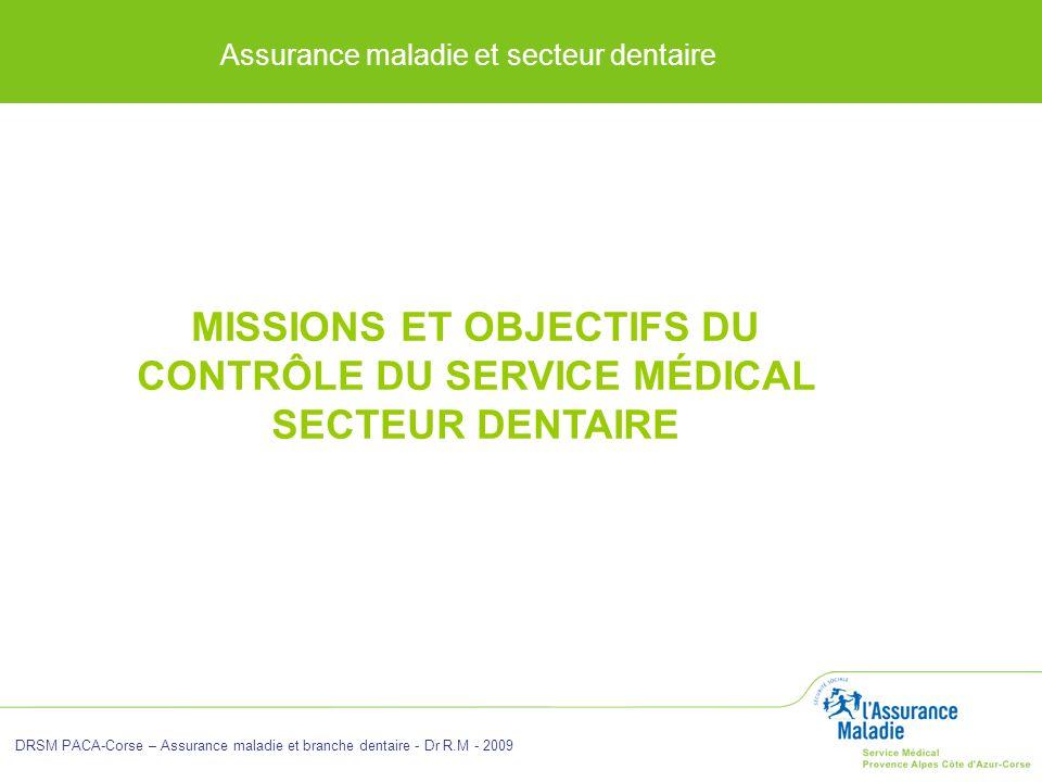 Assurance maladie et secteur dentaire DRSM PACA-Corse – Assurance maladie et branche dentaire - Dr R.M - 2009 MISSIONS ET OBJECTIFS DU CONTRÔLE DU SER