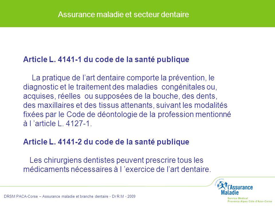 Assurance maladie et secteur dentaire DRSM PACA-Corse – Assurance maladie et branche dentaire - Dr R.M - 2009 Article L. 4141-1 du code de la santé pu
