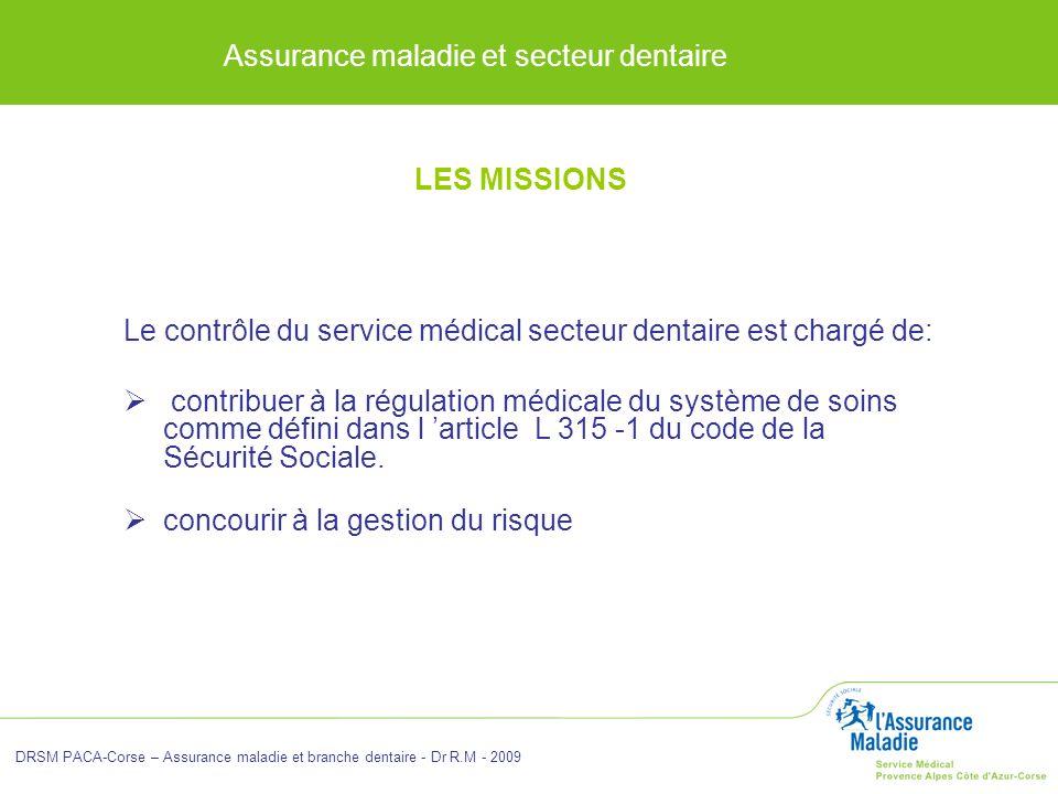 Assurance maladie et secteur dentaire DRSM PACA-Corse – Assurance maladie et branche dentaire - Dr R.M - 2009 LES MISSIONS Le contrôle du service médi