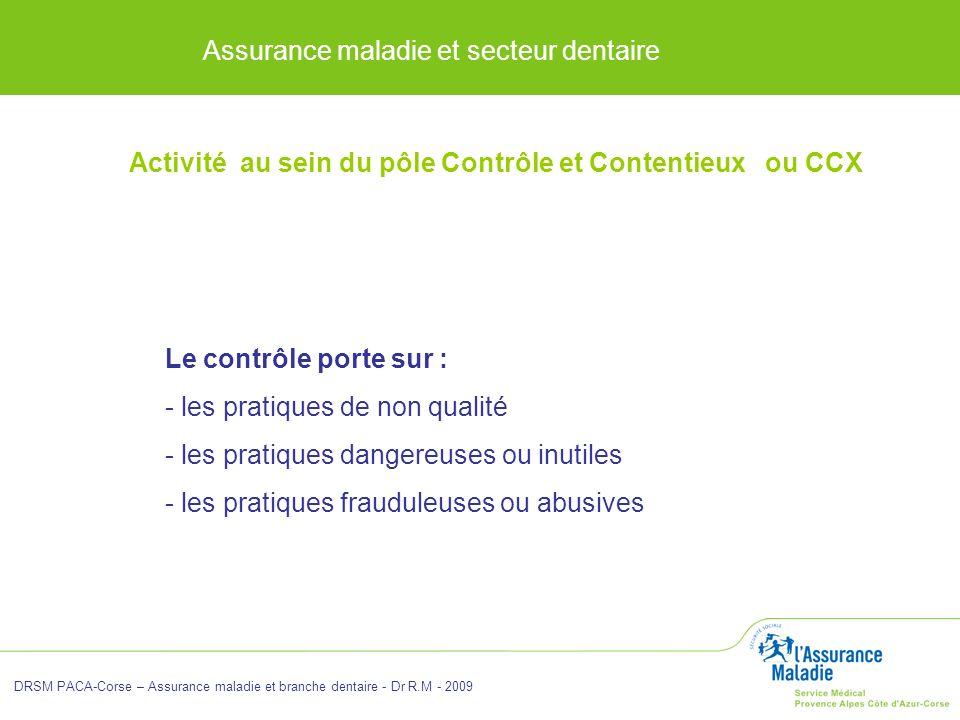 Assurance maladie et secteur dentaire DRSM PACA-Corse – Assurance maladie et branche dentaire - Dr R.M - 2009 Le contrôle porte sur : - les pratiques