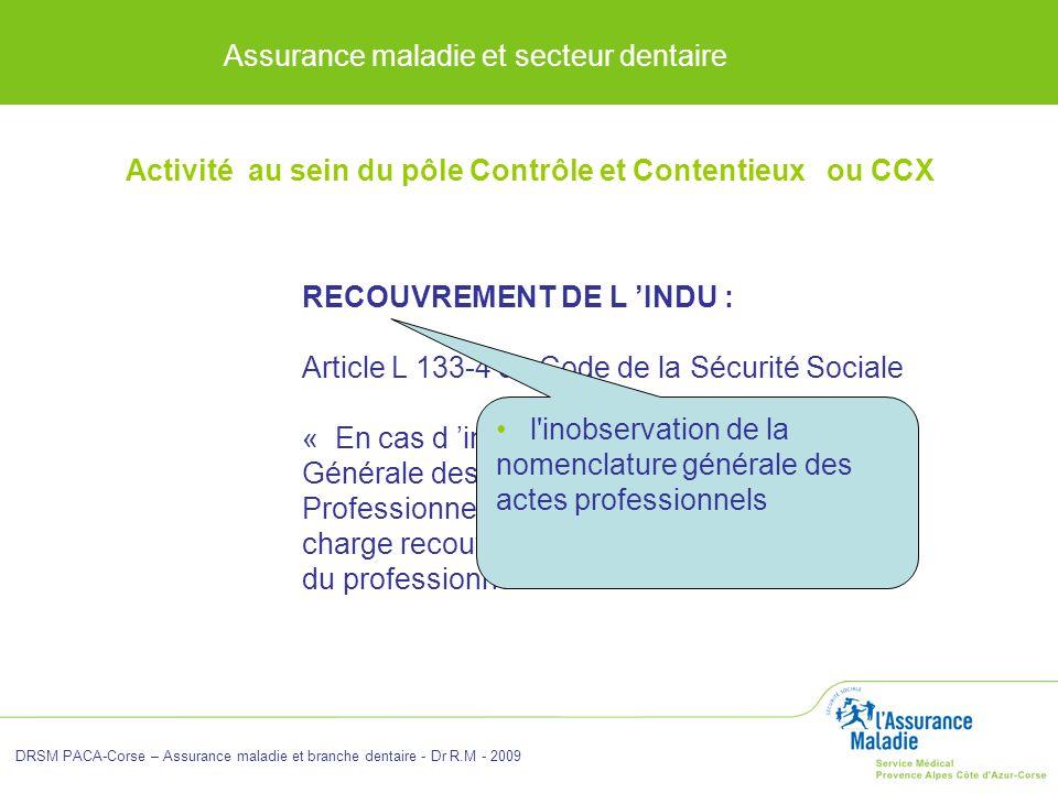 Assurance maladie et secteur dentaire DRSM PACA-Corse – Assurance maladie et branche dentaire - Dr R.M - 2009 RECOUVREMENT DE L INDU : Article L 133-4