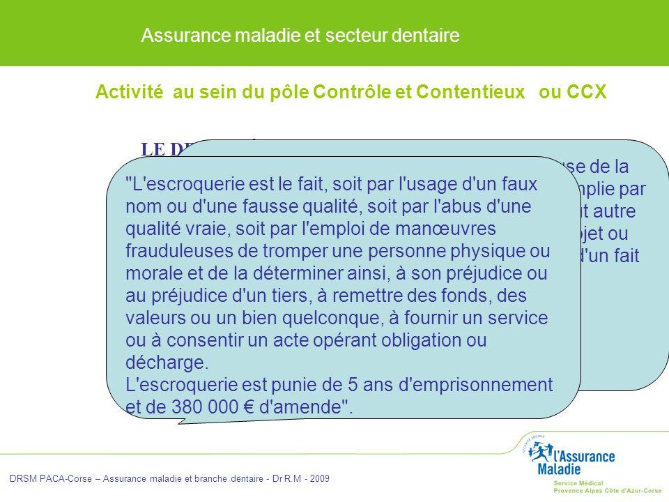 Assurance maladie et secteur dentaire DRSM PACA-Corse – Assurance maladie et branche dentaire - Dr R.M - 2009 LE DROIT PÉNAL : Cette procédure concern