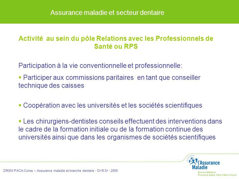 Assurance maladie et secteur dentaire DRSM PACA-Corse – Assurance maladie et branche dentaire - Dr R.M - 2009 Participation à la vie conventionnelle e