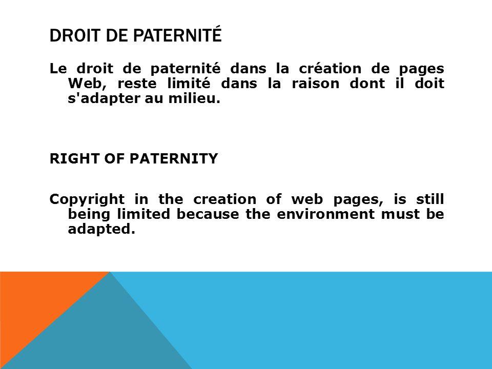 DROIT DE PATERNITÉ Le droit de paternité dans la création de pages Web, reste limité dans la raison dont il doit s adapter au milieu.