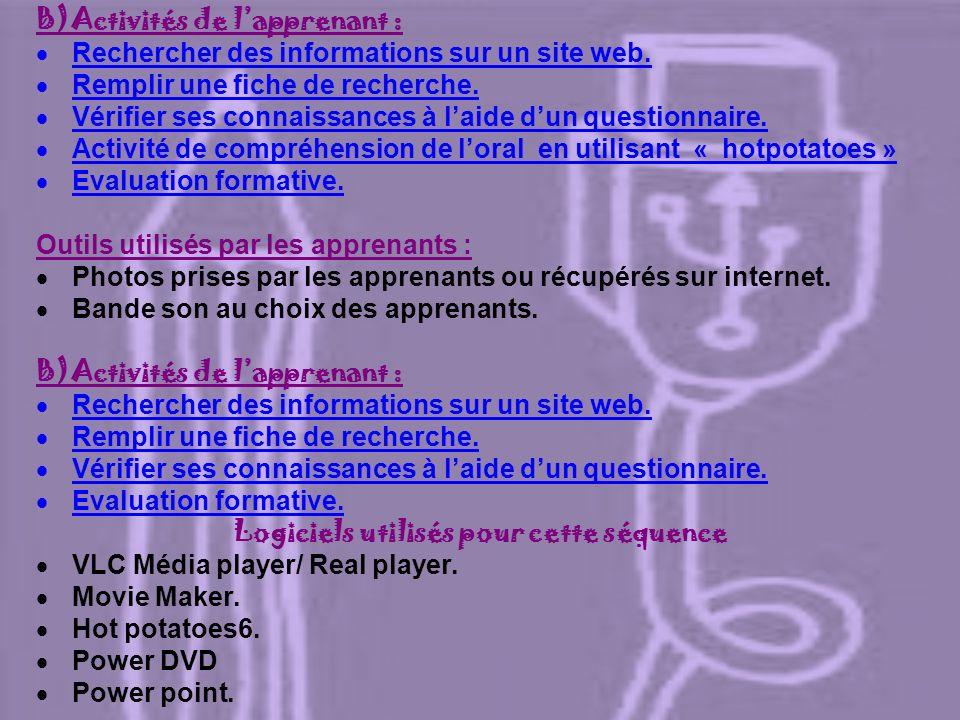 3) Contenu culturel : Sinformer sur le patrimoine culturel algérien. 4) Sites : http://www.youtube.com/watch?v=obHdgZpVfLk. http://www.youtube.com/wat