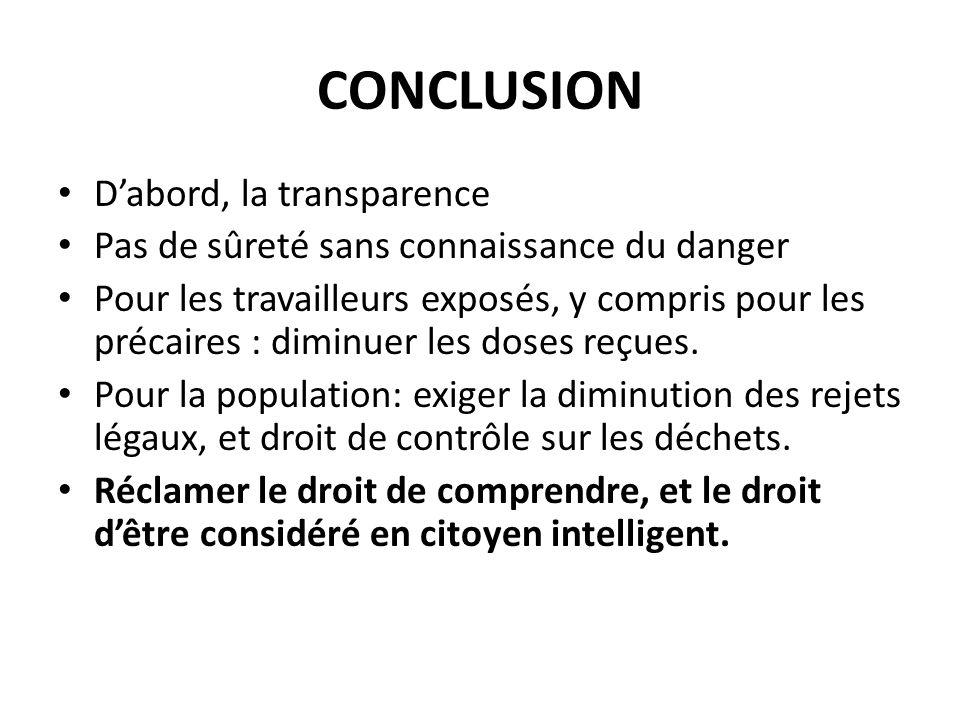 CONCLUSION Dabord, la transparence Pas de sûreté sans connaissance du danger Pour les travailleurs exposés, y compris pour les précaires : diminuer les doses reçues.