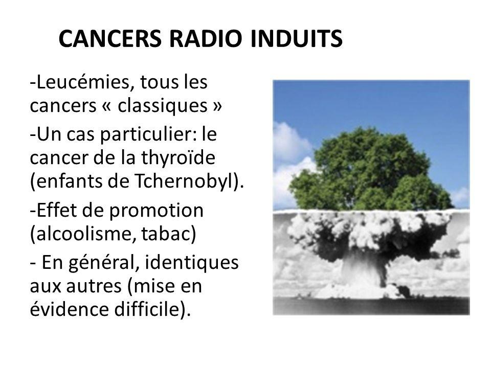 CANCERS RADIO INDUITS -Leucémies, tous les cancers « classiques » -Un cas particulier: le cancer de la thyroïde (enfants de Tchernobyl).