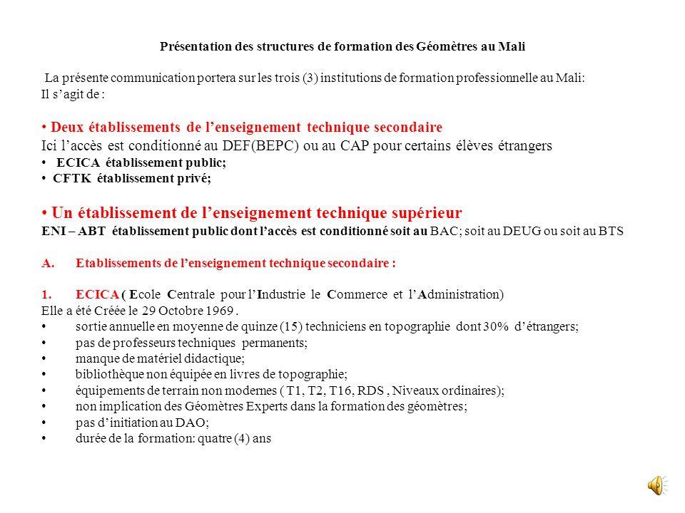 Séminaire dévaluation des besoins En Formation des Géomètres dAfrique Du 14 au 15 Octobre 2010 Au Grand Hôtel de Niamey (NIGER) Présentation des struc