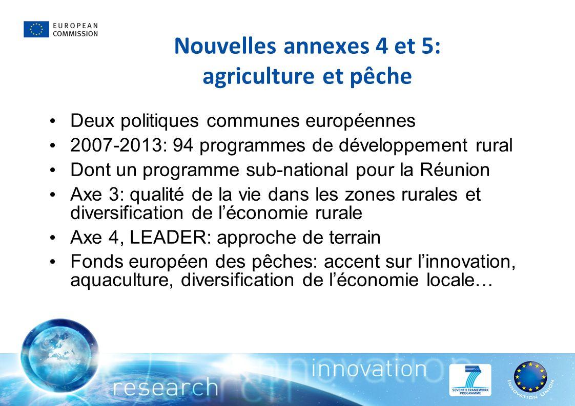 Nouvelles annexes 4 et 5: agriculture et pêche Deux politiques communes européennes 2007-2013: 94 programmes de développement rural Dont un programme