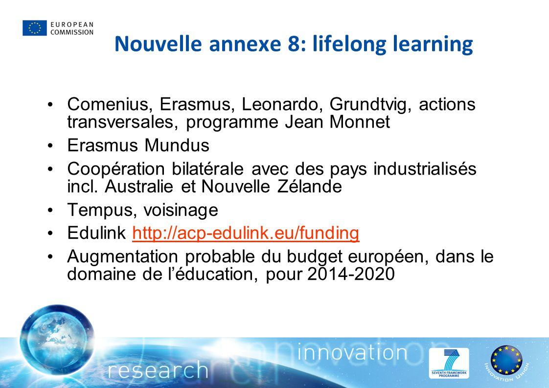 Nouvelle annexe 8: lifelong learning Comenius, Erasmus, Leonardo, Grundtvig, actions transversales, programme Jean Monnet Erasmus Mundus Coopération bilatérale avec des pays industrialisés incl.