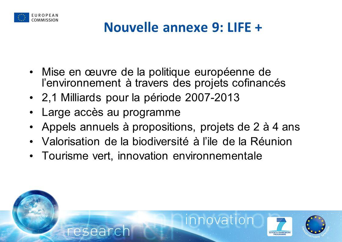 Nouvelle annexe 9: LIFE + Mise en œuvre de la politique européenne de lenvironnement à travers des projets cofinancés 2,1 Milliards pour la période 2007-2013 Large accès au programme Appels annuels à propositions, projets de 2 à 4 ans Valorisation de la biodiversité à lile de la Réunion Tourisme vert, innovation environnementale