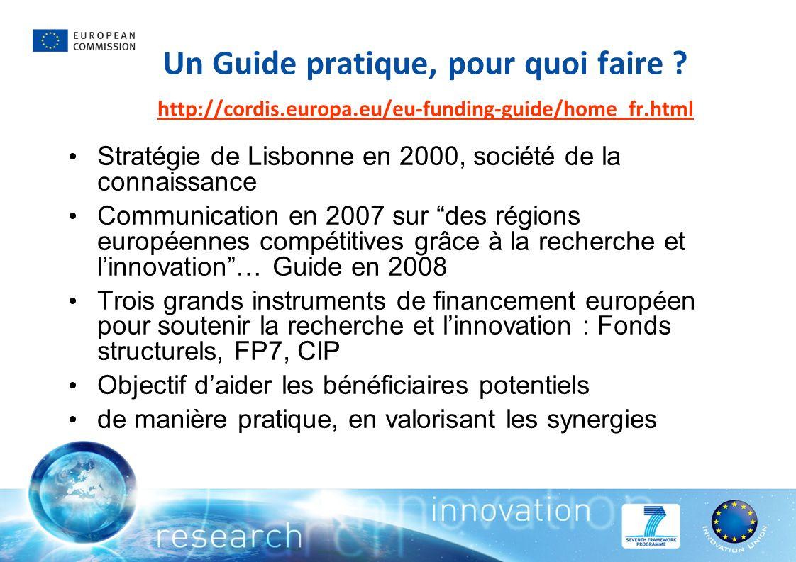Un Guide pratique, pour quoi faire ? http://cordis.europa.eu/eu-funding-guide/home_fr.html http://cordis.europa.eu/eu-funding-guide/home_fr.html Strat