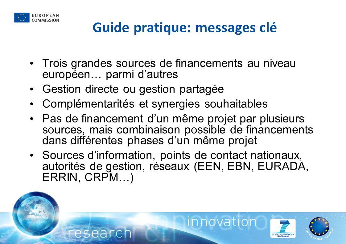 Guide pratique: messages clé Trois grandes sources de financements au niveau européen… parmi dautres Gestion directe ou gestion partagée Complémentari