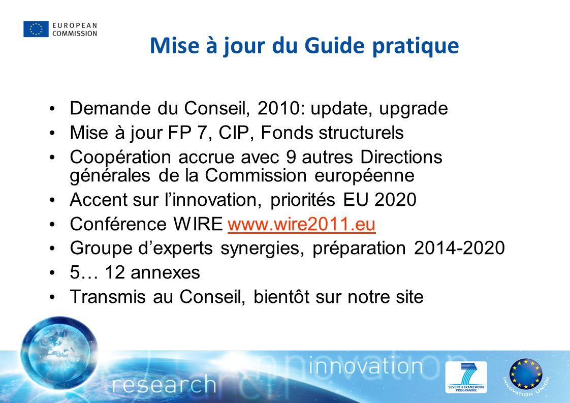 Mise à jour du Guide pratique Demande du Conseil, 2010: update, upgrade Mise à jour FP 7, CIP, Fonds structurels Coopération accrue avec 9 autres Dire