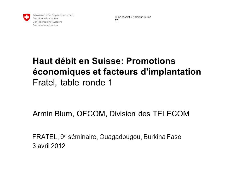 2 9ème Séminaire I 3 – 4 Avril 2012 Raccordements large bande en Suisse Le raccordement à Internet à haut débit fait partie des prestations du service universel : 1Mbit/s depuis le 1 er mars 2012 Raccordements autres que sur fibres optiques (2011) ADSL : 98% CATV : 85% GSM : 100%, UMTS: 93% VDSL : extension couverture à 95% prévue pour fin 2013 Raccordements sur fibres optiques (2011) FTTH actuellement marginal Disponibles dans 300000 ménages (10% des « homes passed ») Plan d aménagement en 2015 prévoyant la connexion de 30% des ménages